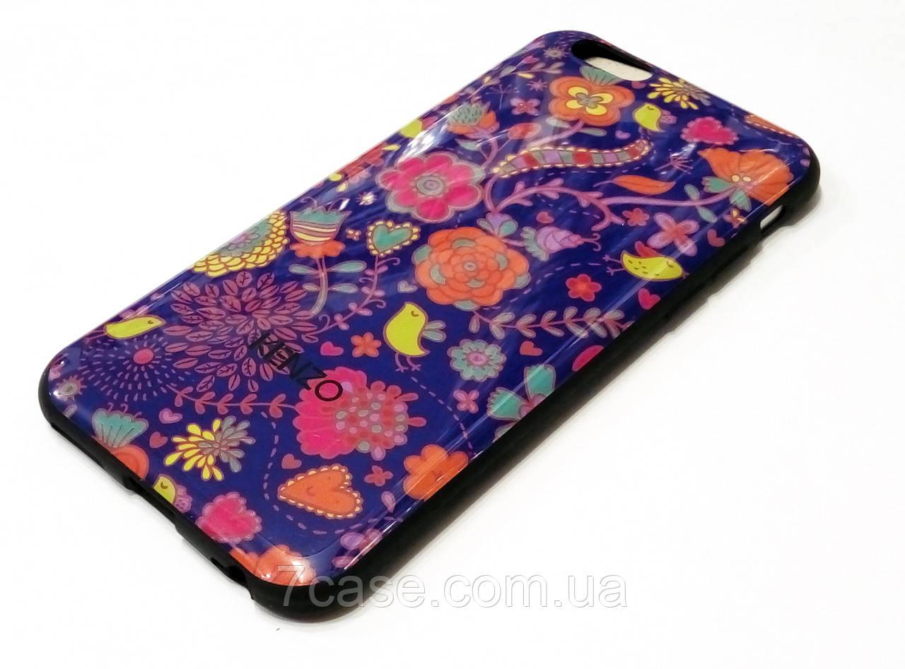 Чехол для iPhone 6 / 6s силиконовый с рисунком цветы синий