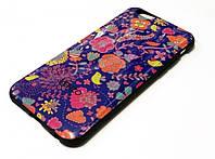 Чохол для iPhone 6 / 6s силіконовий з малюнком квіти синій