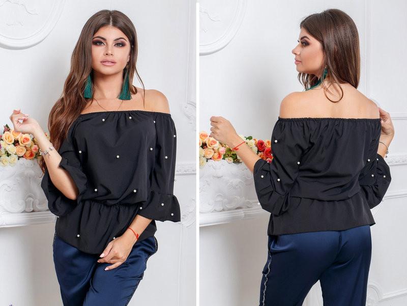 Блузка женская с открытыми плечами украшеная бусами  (К23514)