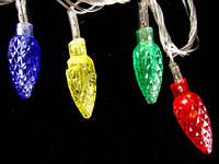 Новогодние разноцветные шишки, led-гирлянда на 100 лампочек, 4 цвета, прозрачная изоляция электропровода, 220в