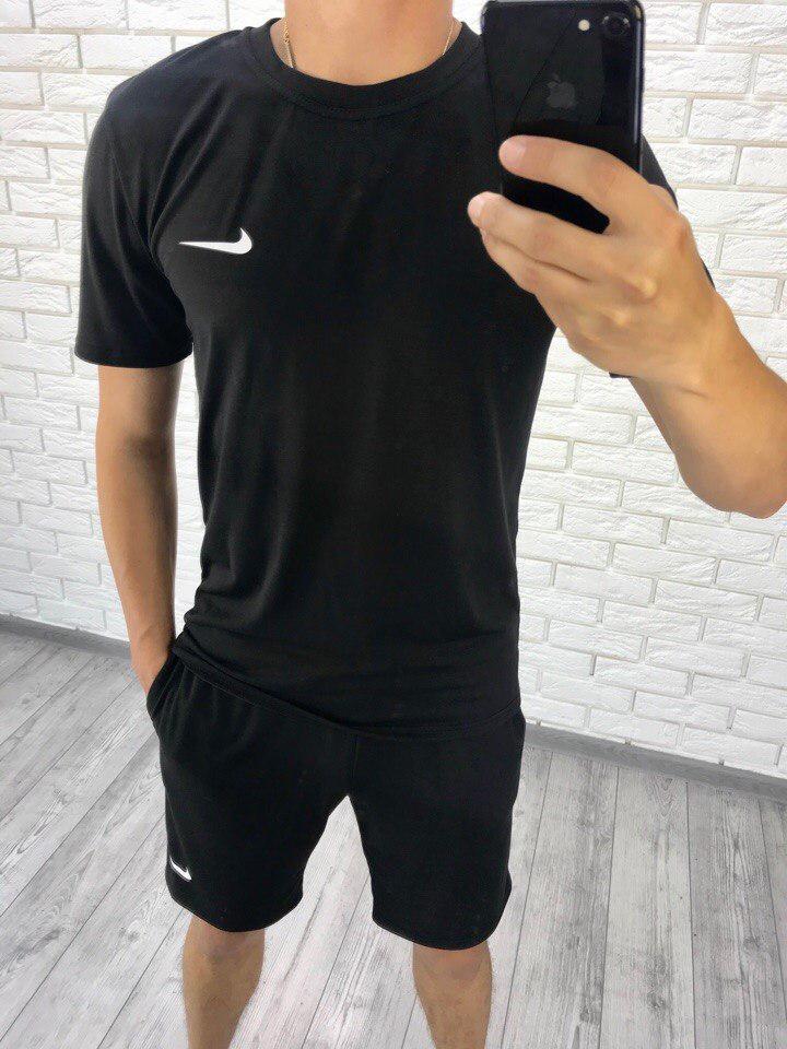 dd88011e Мужской черный спортивный костюм летний: футболка и шорты, реплика Nike -  AMONA интернет-