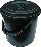 """Ведро пластиковое черное 10 литров с крышкой """"Промсантехпласт"""", фото 1"""