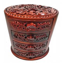 Шкатулка резная для украшений овальная (18х18х13 см)(Вьетнам)