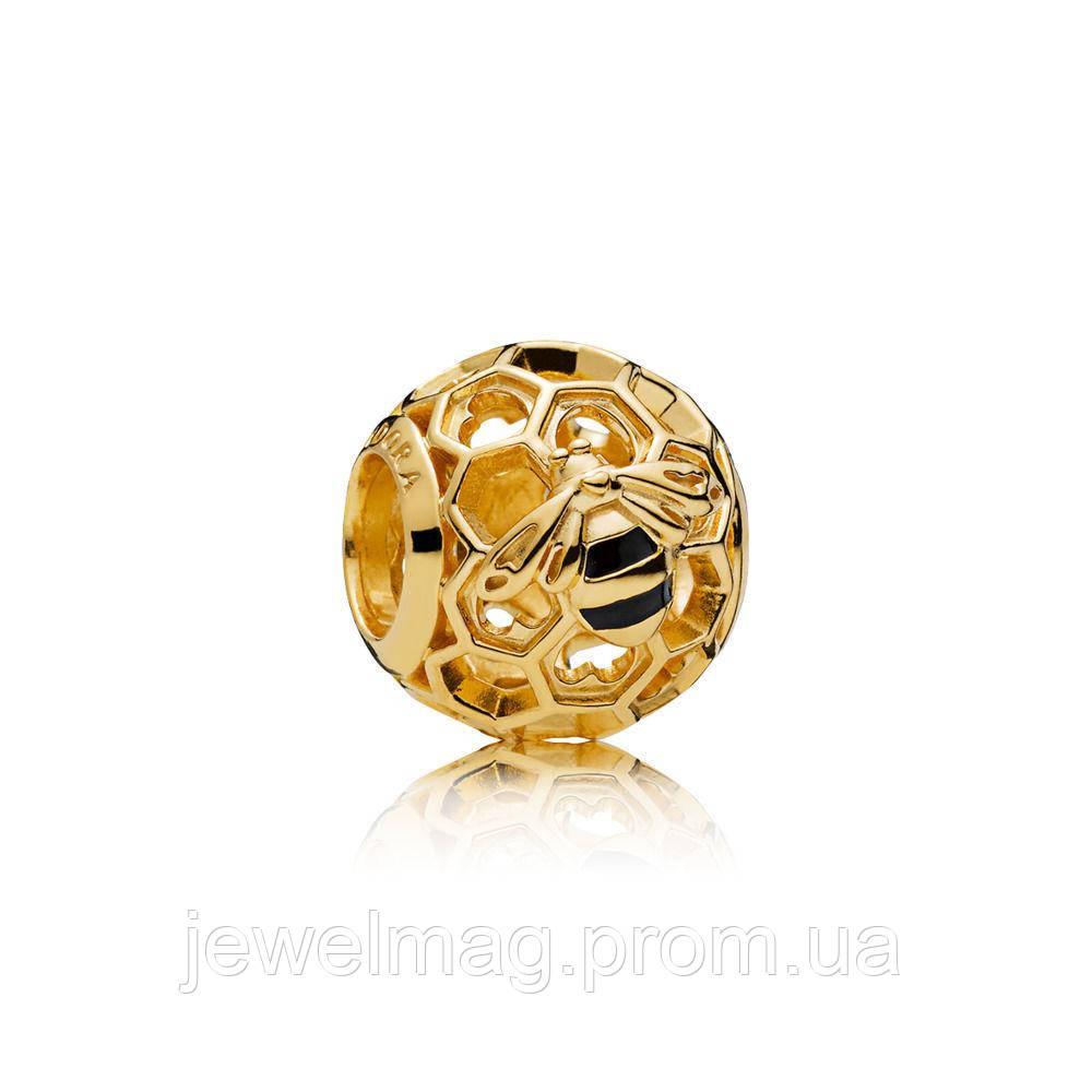 Шарм «Медовая пчёлка» из серебра 925 пробы и золотым покрытием