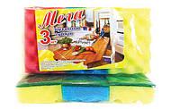 """Губка для мытья посуды кухонная Vivat """"Мега"""" (115×70×32 мм) 3 шт/уп + Видеообзор"""