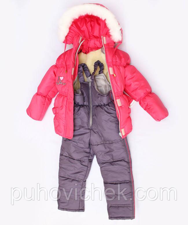 Красивый теплый комбинезон для девочки зимний на овчинке