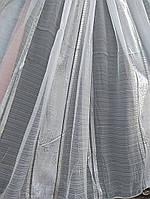 Белая тюль с серебристыми вставками (Китай)