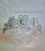 Свадебная диадема, тиара под серебро, высота 4 см., фото 1