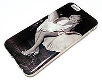 Чехол для iPhone 6 / 6s силиконовый с рисунком Marilyn Monroe Мэрилин Монро девушка платье черно-белый, фото 1