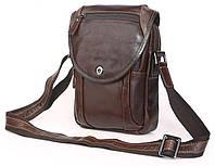 984a1ae6214c Стильная вертикальная мужская сумка мессенджер с натуральной кожи в  коричневом цвете Vintage 14388
