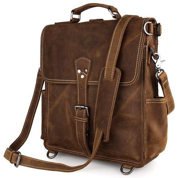 Вертикальная мужская сумка с ручкой из натуральной кожи в коричневом винтажном стиле Vintage 14260