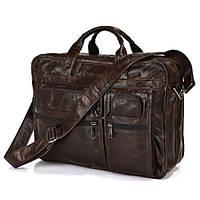 Мужская деловая сумка для командировок из натуральной кожи в коричневом цвете  Vintage   14385