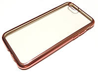 Чехол для iPhone 6 / 6s силиконовый прозрачный с зеркальной окантовкой розовый