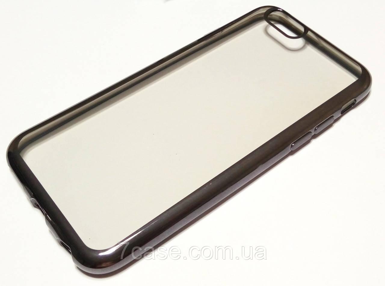 Чехол для iPhone 6 / 6s силиконовый прозрачный с зеркальной окантовкой черный