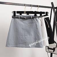 Однотонные юбки с поясом, 4цвета, фото 1