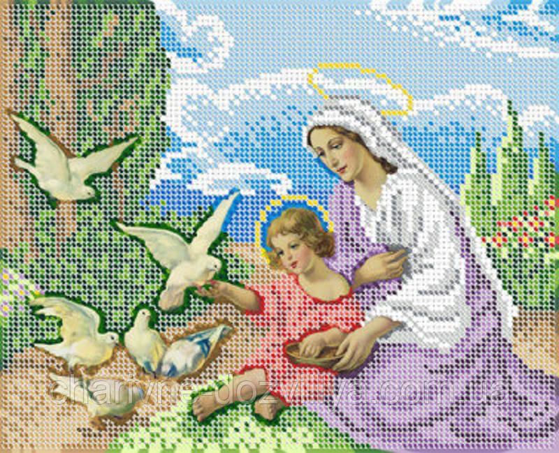"""Схема для вышивки бисером икона """"Мария и младенец Иисус с голубями"""""""