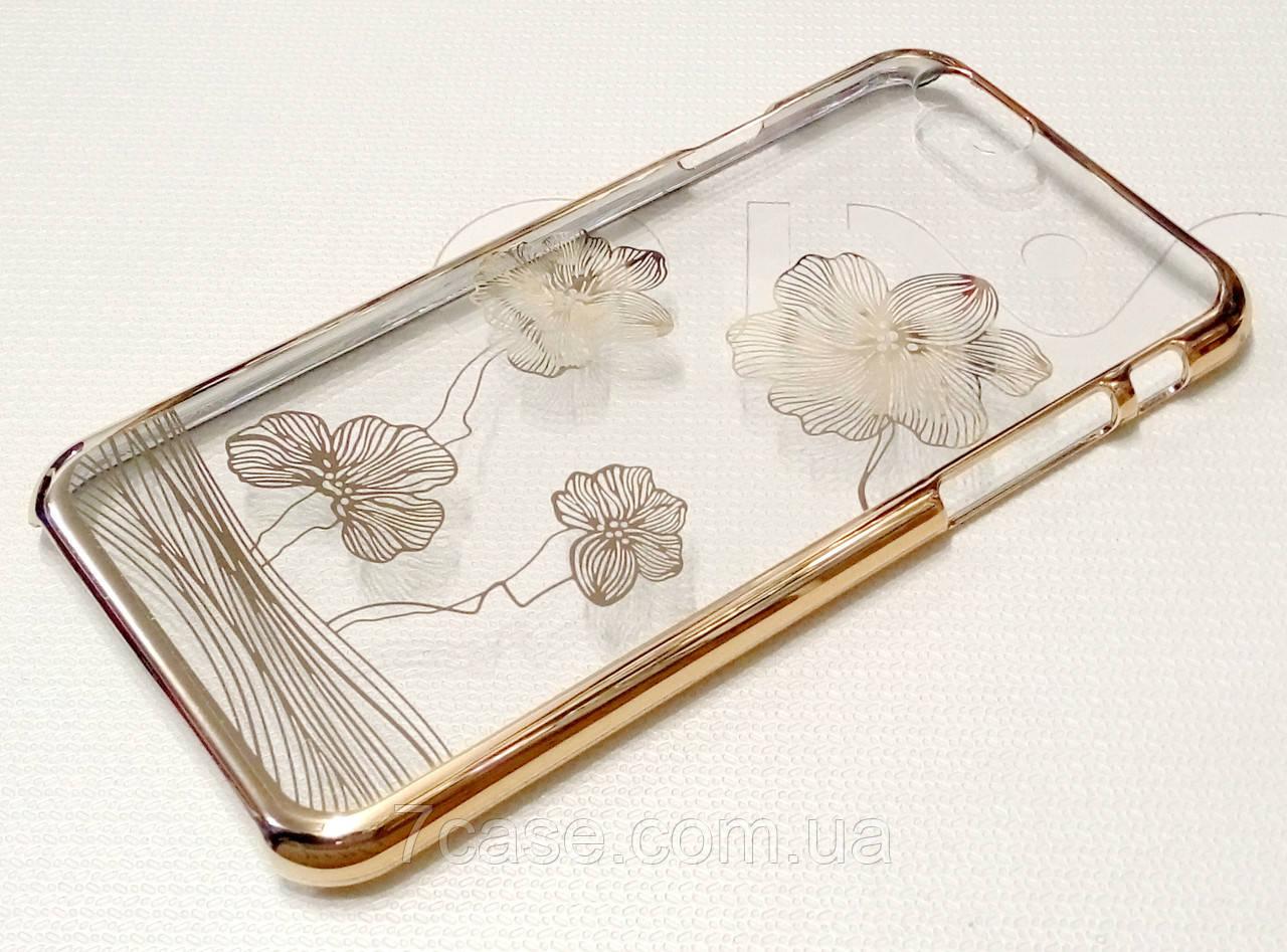 Чехол для iPhone 6 / 6s пластиковый прозрачный с узором цветы золотой