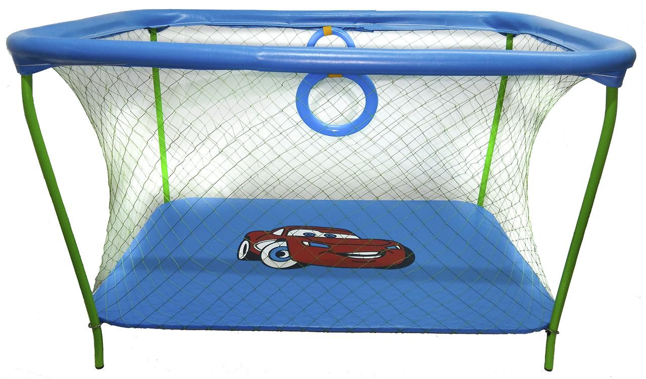 Манеж детский игровой KinderBox люкс Голубой тачки с крупной сеткой (km73)