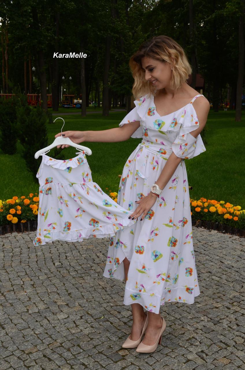 Принтованное летнее легкое платье для мамы и дочки 512113