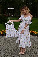 Принтованное летнее легкое платье для мамы и дочки 512113, фото 1