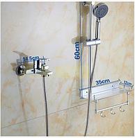 Смеситель для ванной комнаты со штангой и полочкой 2-056, фото 1