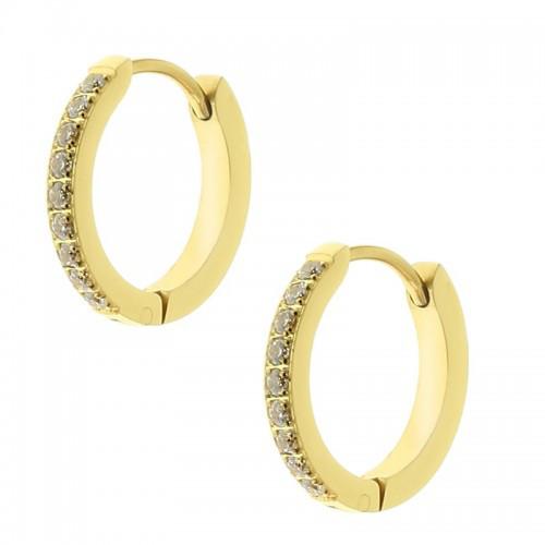 Серьги кольца позолоченные из стали с фианитами 15 мм 128852