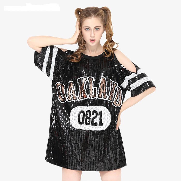 Женское платье туника с открытыми плечами OAKLAND с пайетками черное