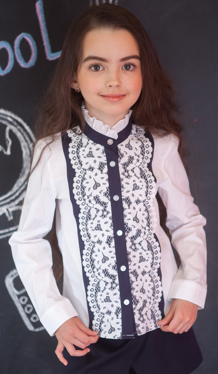 Школьная блузка нарядная с кружевом мод.7071д 140