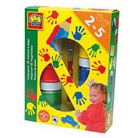 Пальчиковые краски ЦВЕТНЫЕ ЛАДОШКИ (6 цветов в пластиковых баночках, кисточка)