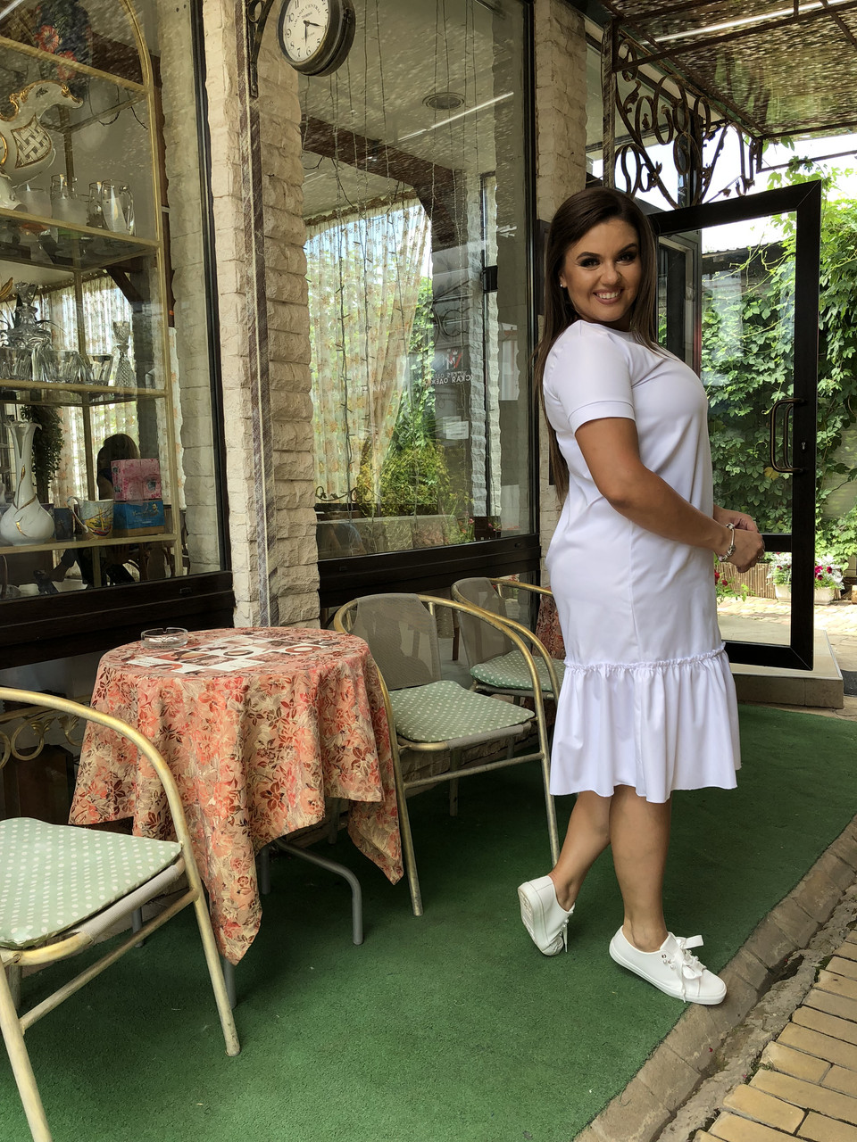 Льняное платье Миди Волан 03799