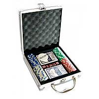 Покерный набор в алюминиевом кейсе (2 колоды+100 фишек)(23х20,5х6см)(вес фишки 4 гр. d-33мм)