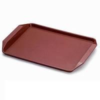Подносы пластиковые, разносы с текстурированной поверхностью и ручками для сервировки в фаст фудах 400*300*2