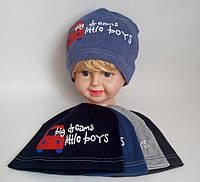 Шапка трикотажная для мальчика двойная р 48-50