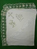 Красивая молочная крыжма с уголком для крещения малышей. , фото 1