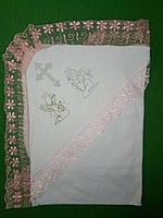 Красивая белая крыжма с уголком для крещения девочки, фото 1