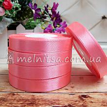Атласна стрічка 1,2 см, №5 рожевий, рулон 23 м
