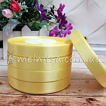 Атласна стрічка 1,2 см, №15 жовтий, рулон 23 м