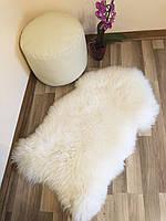 Шкура натуральная овечья декоративная, белый цвет, ковер, размер 120х75