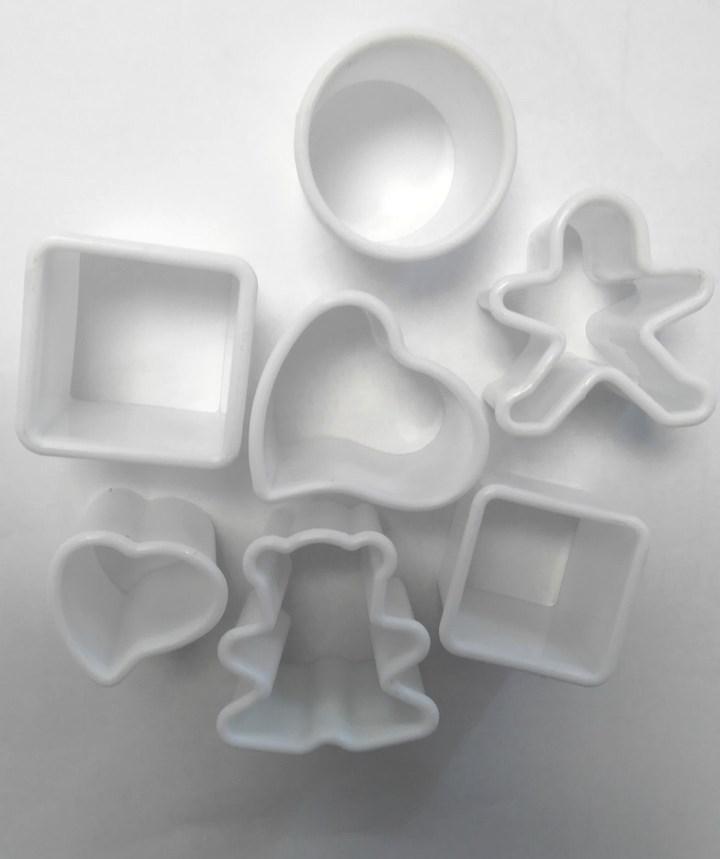 Вырубка квадрат,круг,сердце,человечек,мишка 7шт. ,Галетте - 06050