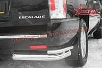 """Защита заднего бампера """"уголки"""" d 76/60 двойные Союз 96 на Cadillac Escalade III 2007-2013"""
