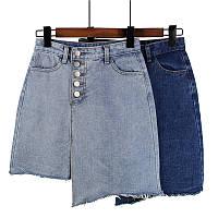 Асимметричная джинсовая юбка в двух цветах, фото 1