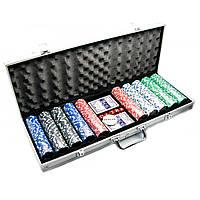 Покерный набор в черном алюминиевом кейсе (2 колоды+500 фишек)(56х22х7см)(вес фишки 4 гр. d-39 мм)