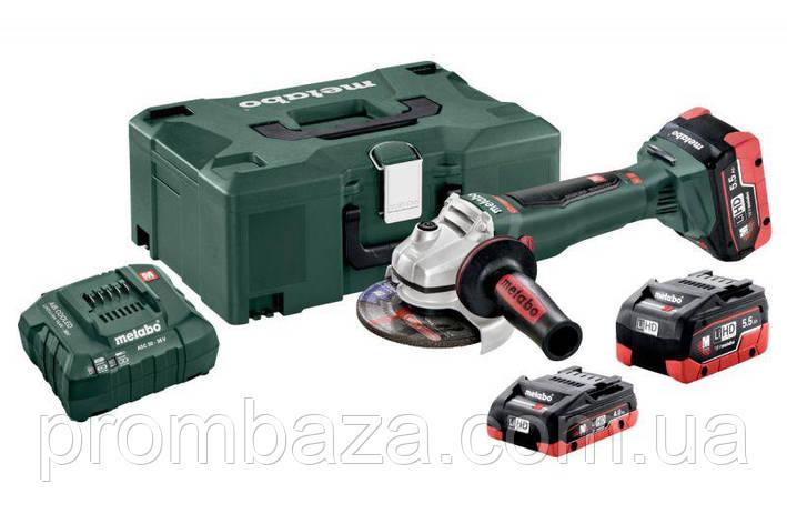 Аккумуляторная болгарка Metabo WB 18 LTX BL 125 Quick LiHD 2x5.5 Ач + 1x4.0 Ач, фото 2