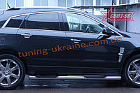 Пороги с проступями d 76 (компл 2шт.) Союз 96 на Cadillac SRX 2011-2014
