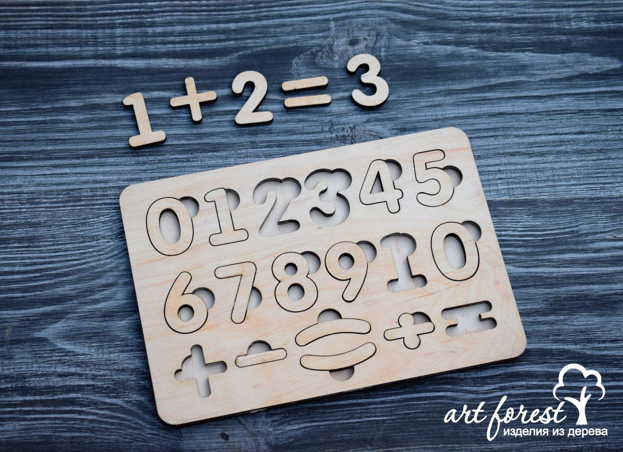 Пазл сортер из фанеры цифры
