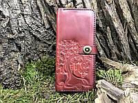 """Кожаный кошелек """"Cadillac"""" с тиснением Денежное дерево красный"""