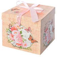 """Коробка подарочная бумажная """"Ретро"""" N00367 квадратная, 10*10*10см, розовый, ящик для хранения, корзина, ящик, коробки для хранения, коробки"""