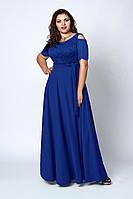Платье мод 568-5, размер 52,54,56,58 электрик, фото 1