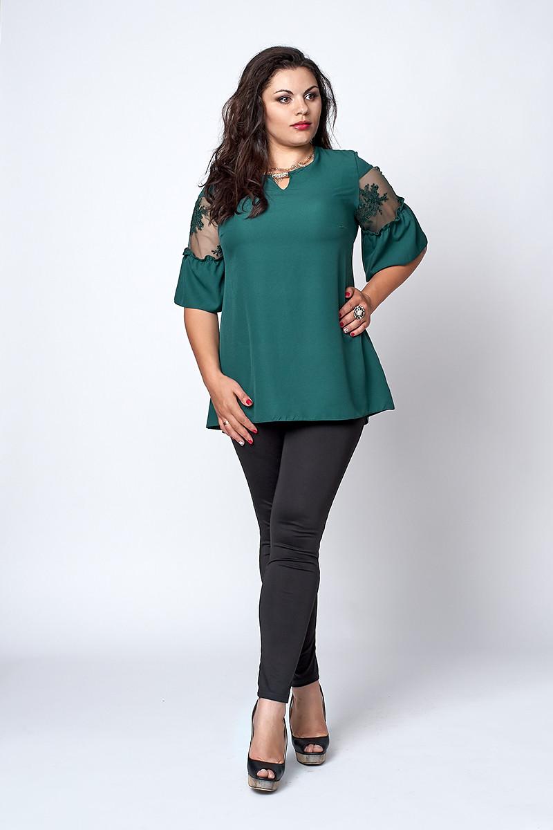 Блуза  мод 711-2 размер 52,54 изумруд