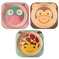Посуда детская бамбук 3пр/наб (тарелка, вилка, ложка)